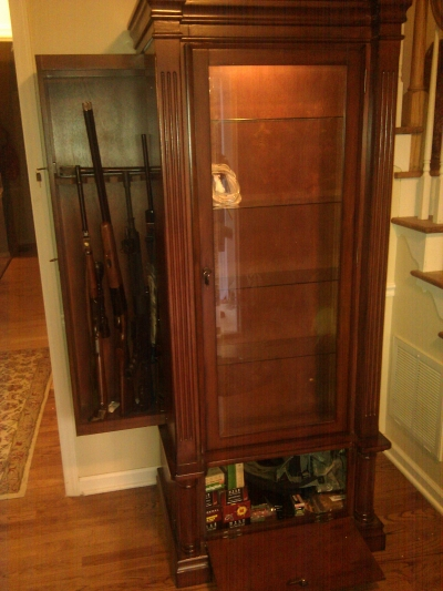 American Furniture Curio and Gun Cabinet